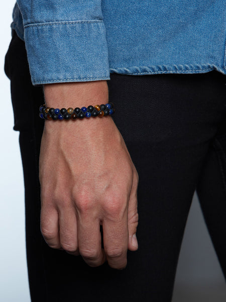 Men's Double-Beaded Bracelet with Tiger Eye, Matte Onyx and Blue Lapis - Nialaya Jewelry  - 2