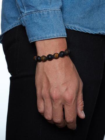 Men's Beaded Bracelet with Matte Onyx and Matte Tiger Eye / Nialaya Charity Bracelet - Nialaya Jewelry  - 3