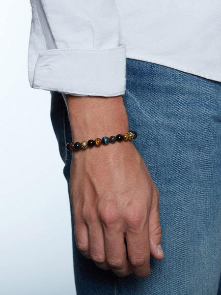 Men's Beaded Bracelet with Tiger Eye, Agate, Bronzite and Indian Gold - Nialaya Jewelry  - 2