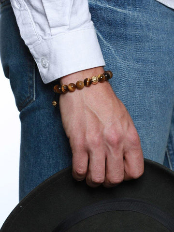 Men's Beaded Bracelet with Gold and Brown Tiger Eye - Nialaya Jewelry  - 2