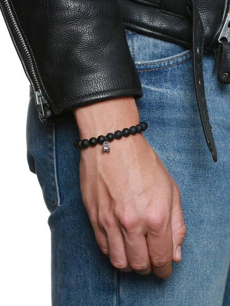 Men's Wristband with Matte Onyx and Skull - Nialaya Jewelry  - 2