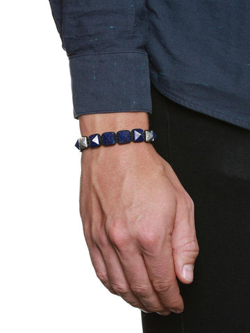 Men's Himalaya Collection - Blue Lapis and Silver - Nialaya Jewelry  - 4