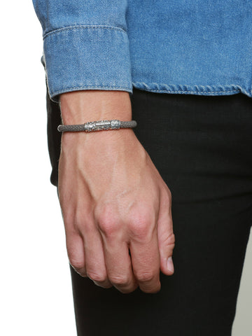 Men's Grey Stingray Bracelet with Vintage Silver Lock - Nialaya Jewelry  - 3