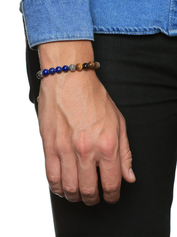 Men's Beaded Bracelet with Ebony, Blue Lapis, Tiger Eye, Red Coral and Indian Silver - Nialaya Jewelry  - 2