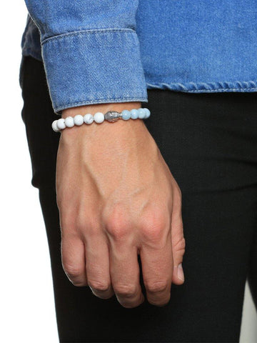 Men's Beaded Bracelet with Howlite, Aquamarine and Silver Buddha - Nialaya Jewelry  - 2