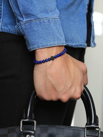 Men's Beaded Bracelet with Blue Lapis and Black CZ Diamond - Nialaya Jewelry  - 2