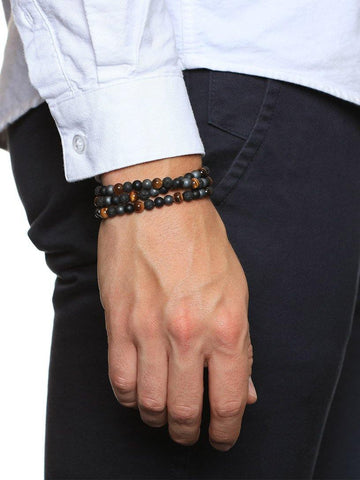 Men's Wrap Around With Matte Onyx, Brown Tiger Eye, Hematite, Lava Stone & Skulls - Nialaya Jewelry  - 2