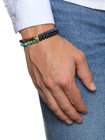 Men's Double-Beaded Skull Bracelet with Blue Lapis, Bali Turquoise, Tiger Eye, and Matte Onyx - Nialaya Jewelry  - 3