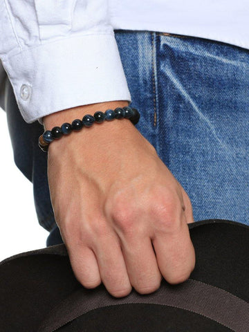 Men's Beaded Bracelet with Bronzite, Blue Tiger Eye and Matte Onyx - Nialaya Jewelry  - 2