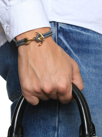 Men's Grey Leather Bracelet with Gold Anchor - Nialaya Jewelry  - 2
