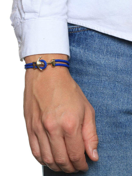 Men's Blue Stingray Bracelet with Gold Anchor Lock - Nialaya Jewelry  - 2