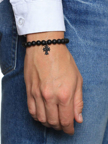 Men's Wristband with Matte Onyx and Cross - Nialaya Jewelry  - 2