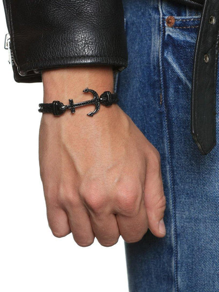 Men's Black Leather Bracelet with Black Anchor - Nialaya Jewelry  - 2