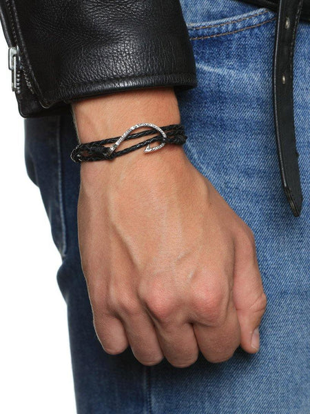 Men's Black Wrap-Around Leather Bracelet with Silver Hook Lock - Nialaya Jewelry  - 2