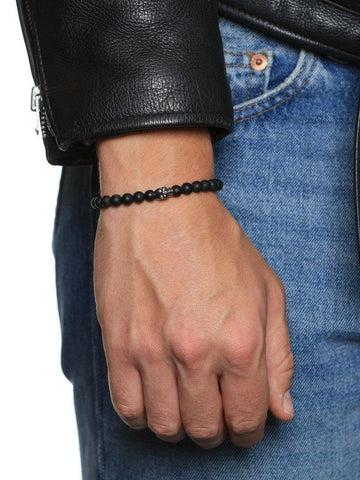 Men's Wristband with Matte Onyx and Black Skull - Nialaya Jewelry  - 2