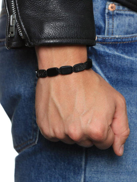 Men's Flatbead Bracelet with Matte Onyx and Black CZ Diamonds - Nialaya Jewelry  - 2