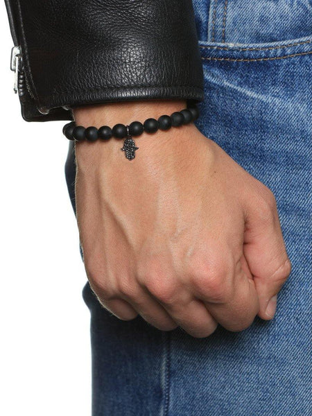 Men's Wristband with Matte Onyx and Hamsa Hand - Nialaya Jewelry  - 2