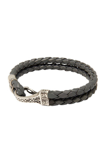 Men's Grey Leather Bracelet with Silver Bali Clasp Lock