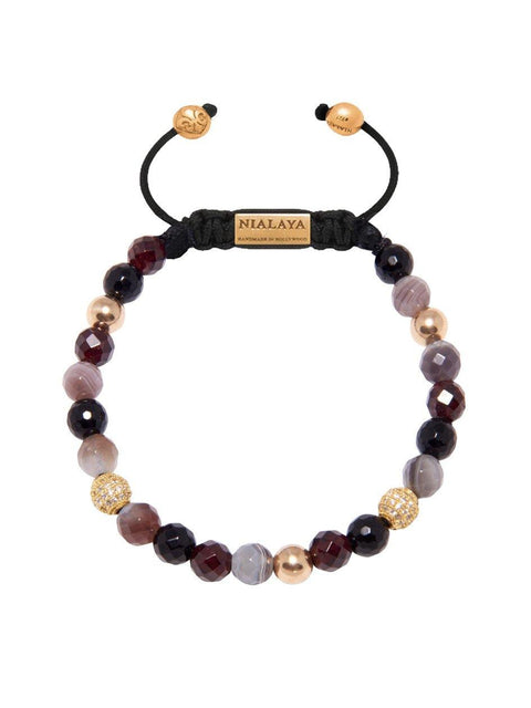 Women's Beaded Bracelet with Garnet and Botswana Agate - Nialaya Jewelry  - 1