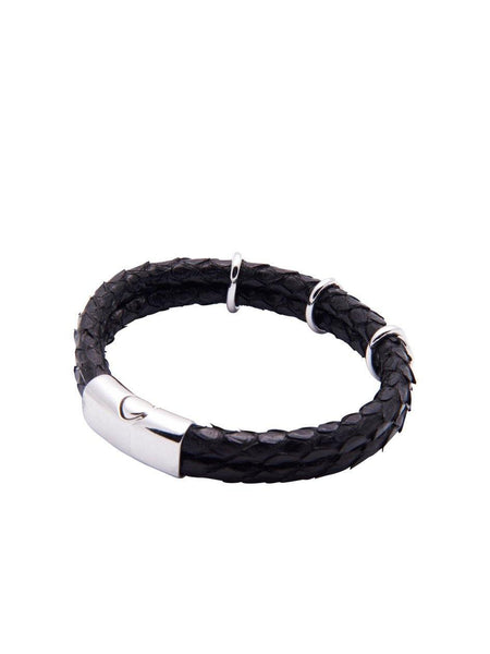 Men's Python Collection - Black Python with Silver - Nialaya Jewelry  - 3