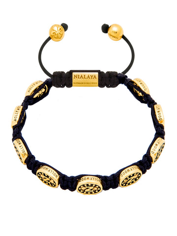 Men's Beaded Bracelet with Nialaya Gold Signature Bead