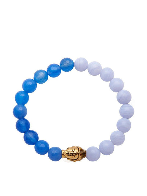 Women's Wristband with Blue Lace Agate and Gold Buddha - Nialaya Jewelry  - 1