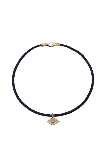 Black Leather Choker with Evil Eye Charm - Nialaya Jewelry  - 1