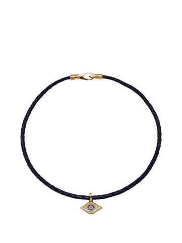 Black Leather Choker with Evil Eye Charm