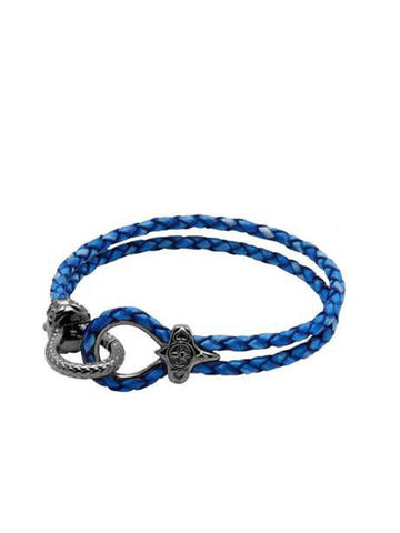 Men's Blue Leather Bracelet with Black Rhodium Hook Clasp