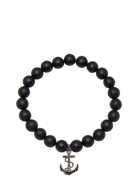 Men's Wristband with Matte Onyx and Black Anchor - Nialaya Jewelry  - 1