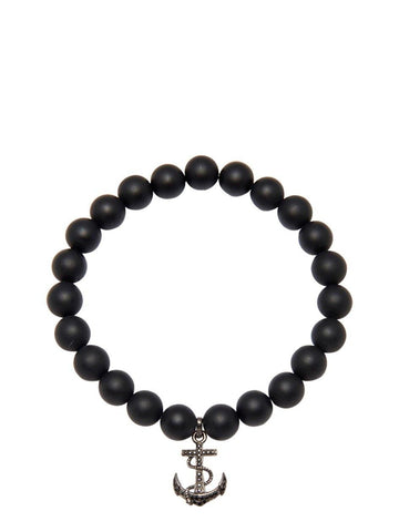 Men's Wristband with Matte Onyx and Black Anchor