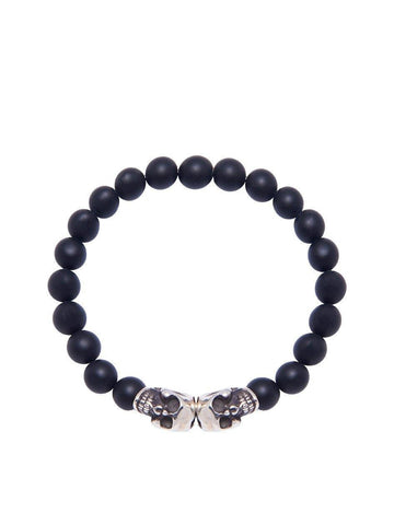 Men's Wristband with Silver Skulls