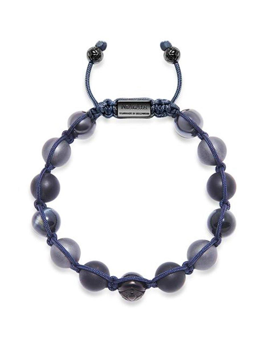 Men's Beaded Bracelet with Matte Onyx, Hematite, and Blue Tiger Eye