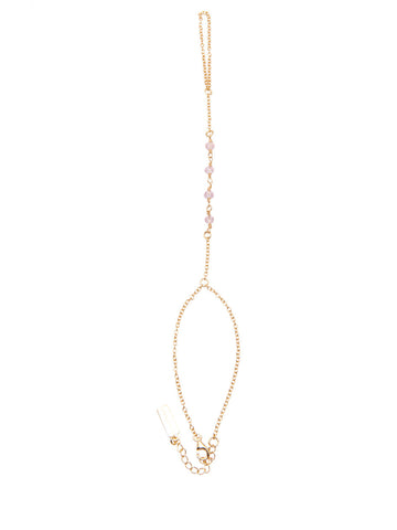 Gold Hand Chain with Rose Quarts
