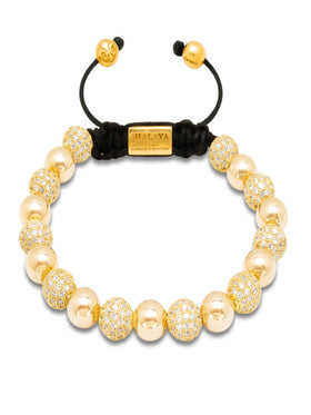 Women's Beaded Bracelet with Gold and Clear CZ Diamonds