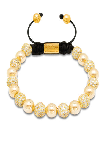 CZ Diamond & Gold Hollow - Nialaya Jewelry  - 1