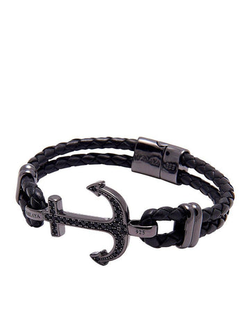 Men's Black Leather Bracelet with Black Anchor