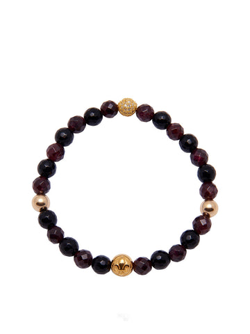 Women's Wristband with Gold and Garnet - Nialaya Jewelry  - 1