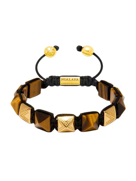 Men's Himalaya Collection - Brown Tiger Eye and Gold - Nialaya Jewelry  - 1