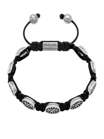 Men's Beaded Bracelet with Nialaya Silver Signature Bead