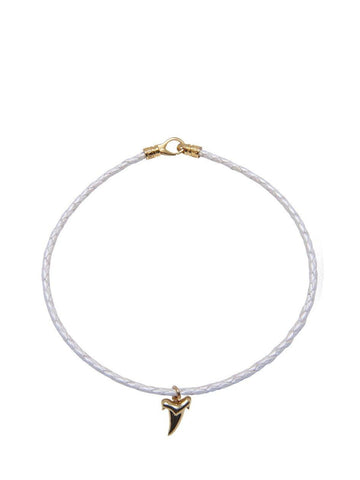 White Leather Choker with Shark Tooth Charm