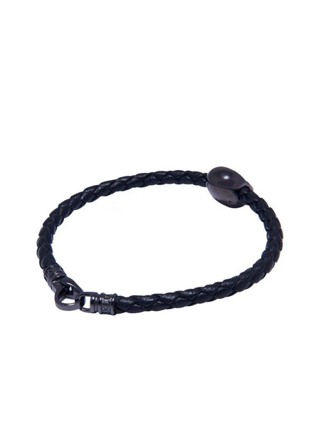 Men's Black Leather Bracelet With Black Skull Bead - Nialaya Jewelry  - 3