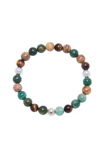Men's Wristband with Turquoise, Jasper and Brown Tiger Eye