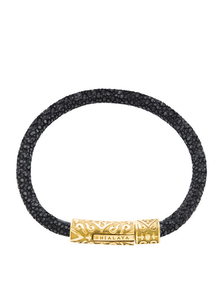 Women's Black Stingray Bracelet with Gold Lock - Nialaya Jewelry  - 1