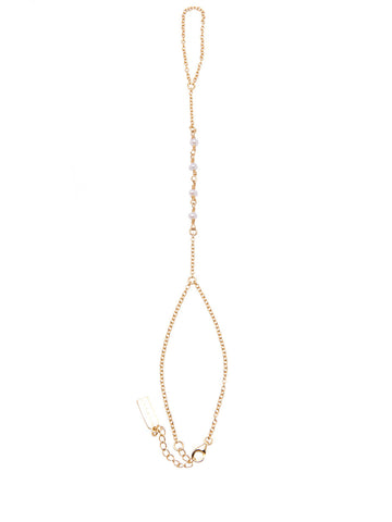 Gold Hand Chain with White Pearls