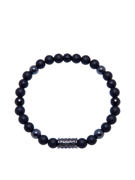 Men's Wristband With Matte Onyx - Nialaya Jewelry
