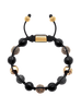 Men's Beaded Bracelet with Matte Onyx and Black/Gold CZ Diamonds - NIALAYA INC