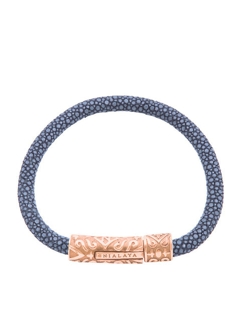 Men's Blue Stingray Bracelet with Rose Gold Lock