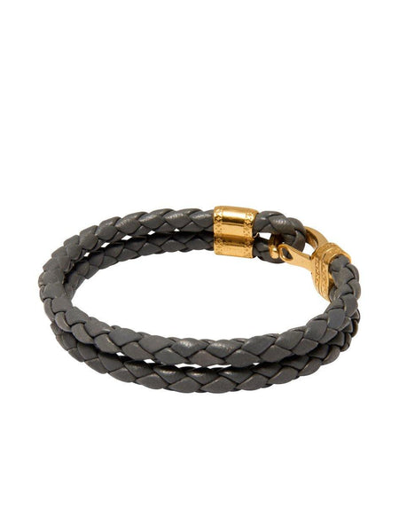 Men's Grey Leather Bracelet with Gold Bali Clasp Lock - Nialaya Jewelry  - 3