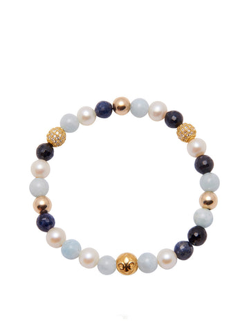 Women's Wristband with Pearl, Sapphire and Aquamarine